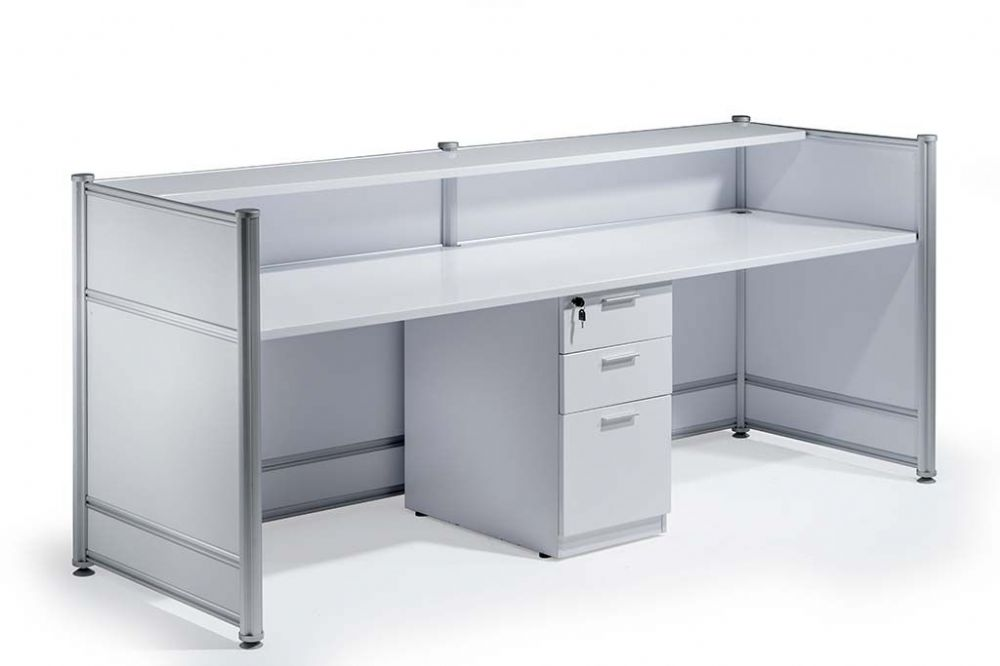 High Gloss Reception Desk 2485mm Wide Counter Contrasting Panels White High Gloss Finish